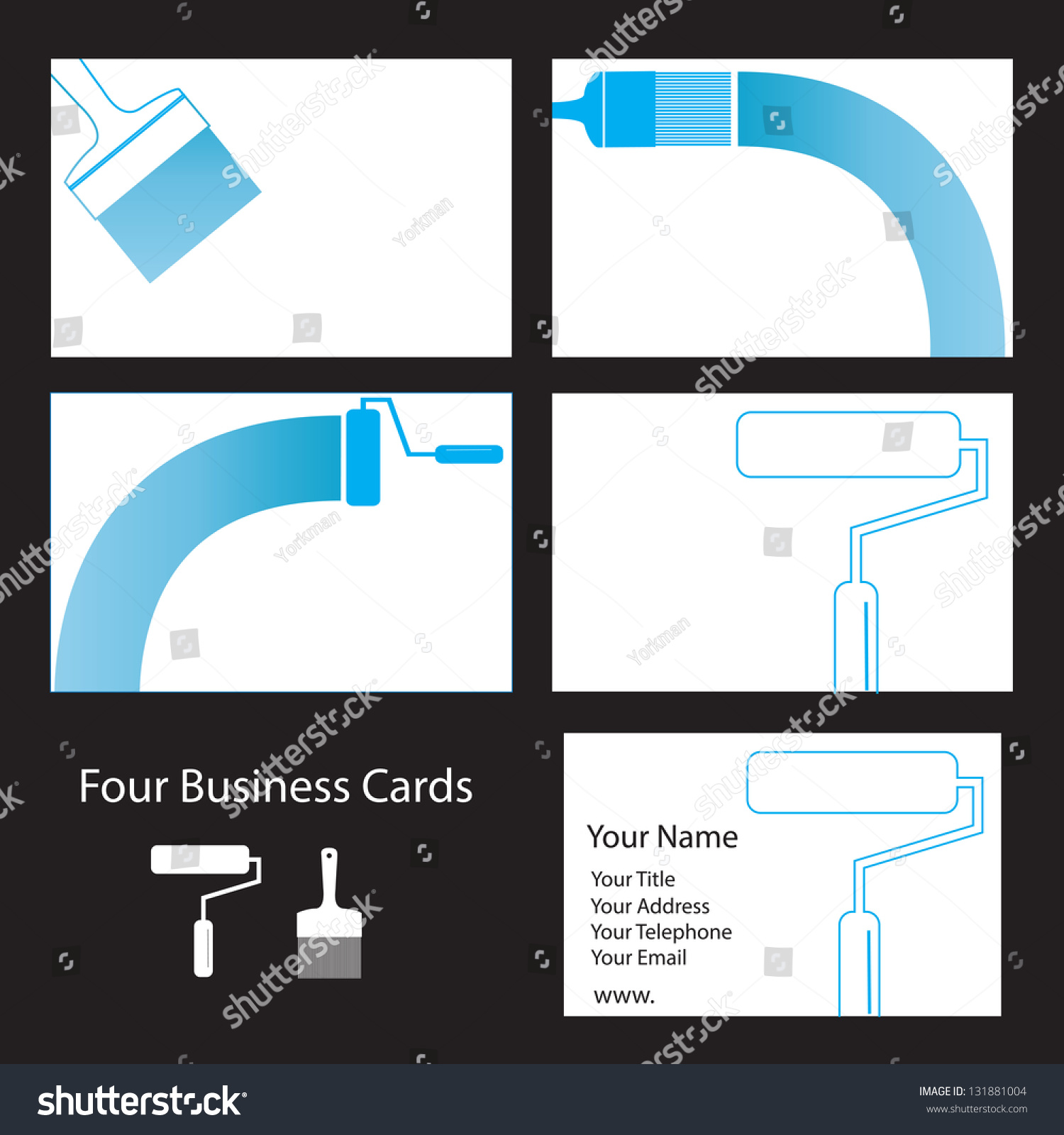 Four Business Card Designs Painters Decorators Stock Vector ...