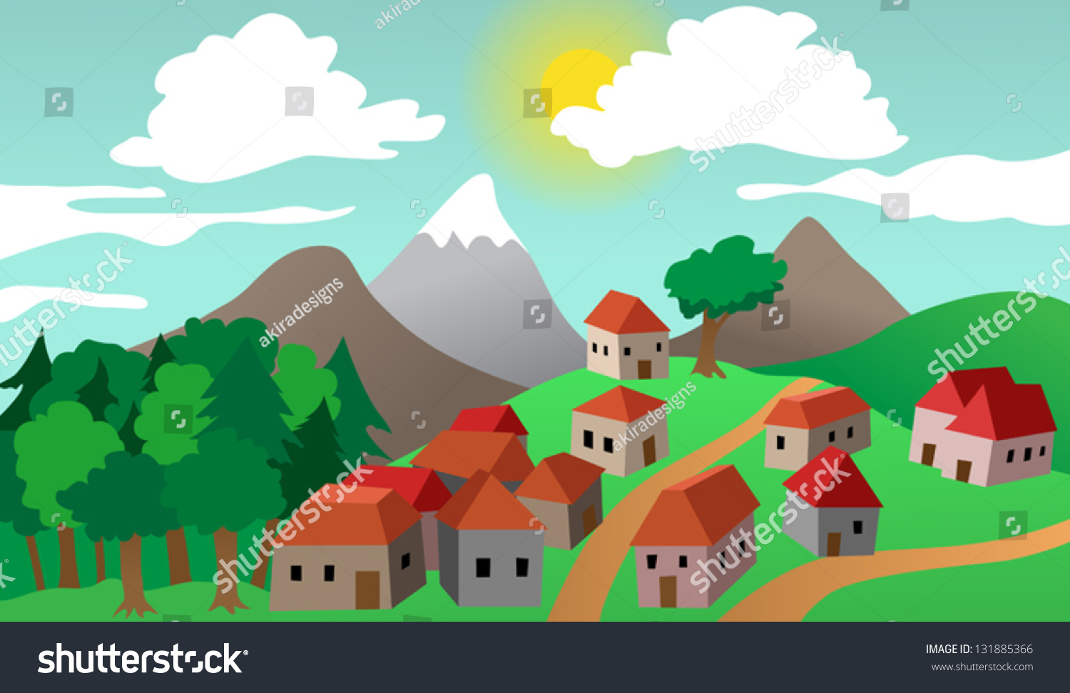 mountain town clip art