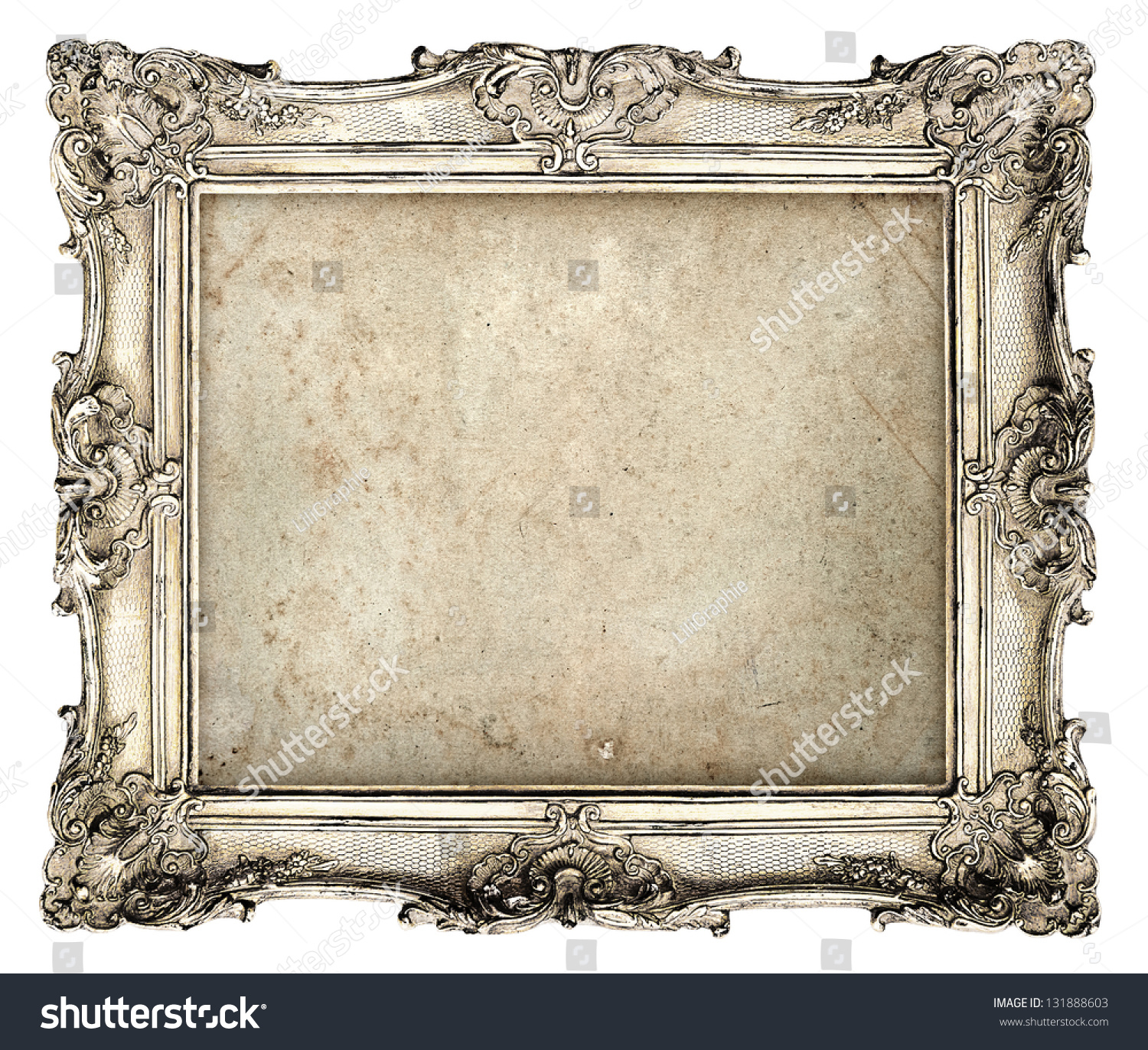 old silver frame empty grunge canvas stock photo 131888603. Black Bedroom Furniture Sets. Home Design Ideas
