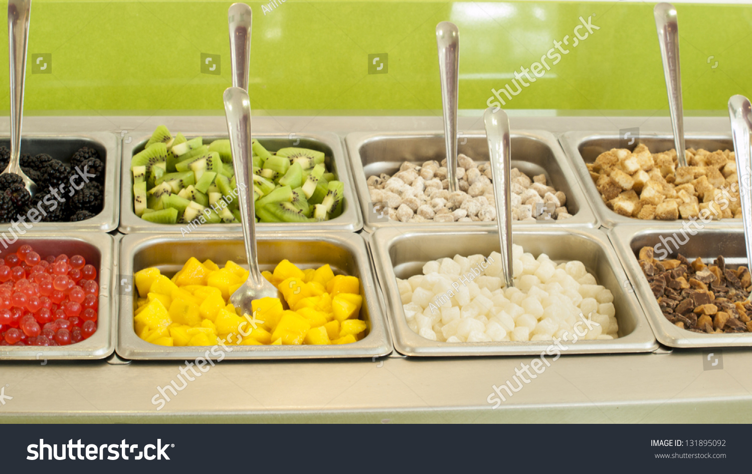 Frozen Yogurt Toppings Bar. Yogurt Toppings Ranging From Fresh