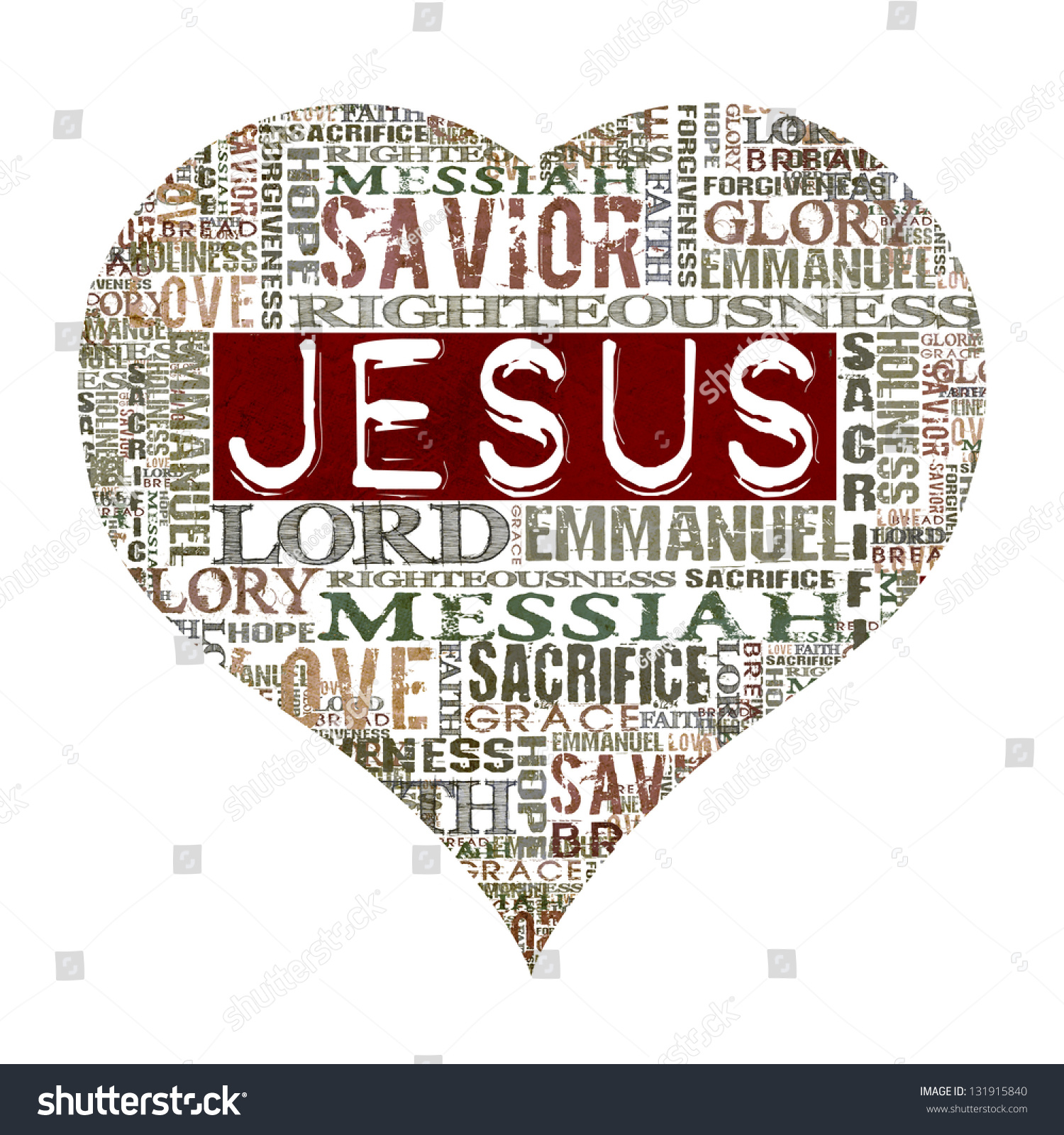 Love Jesus: Love Jesus Religious Words Isolated On Stock Illustration