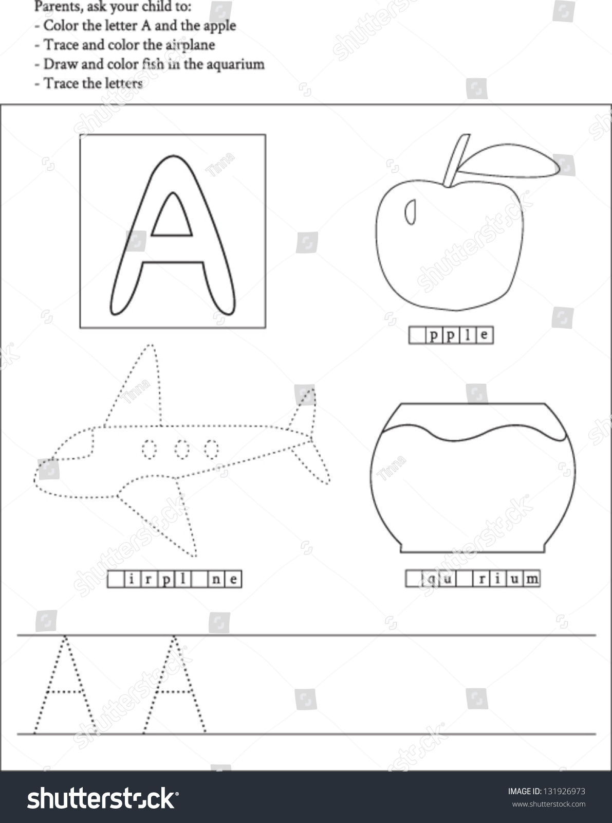 Trace Color Letter A Worksheet Preschoolers Vector 131926973 – A Worksheet