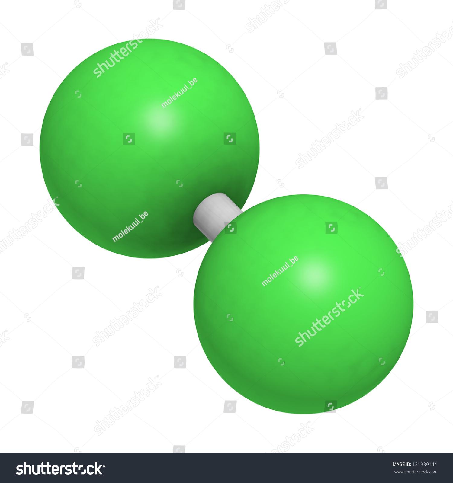 Elemental Chlorine Cl2 Molecular Model Atoms Stock
