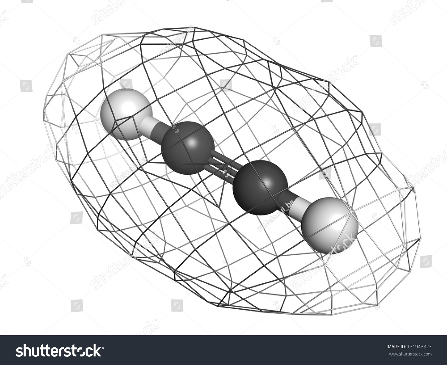 Acetylene Ethyne Gas Welding Fuel Molecular Stock Illustration Diagram Model Atoms Are Represented As Spheres