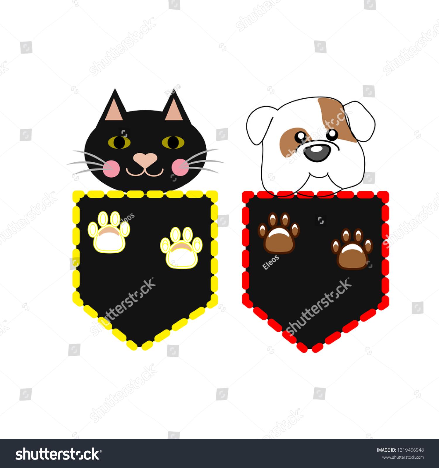 Cartoon Cat Dog Pocket Animal Collectionvector Stock Vector Royalty Free 1319456948