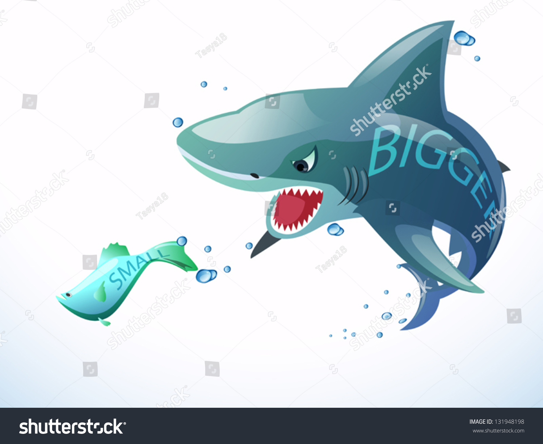 bigger shark eating small fish stock vector 131948198