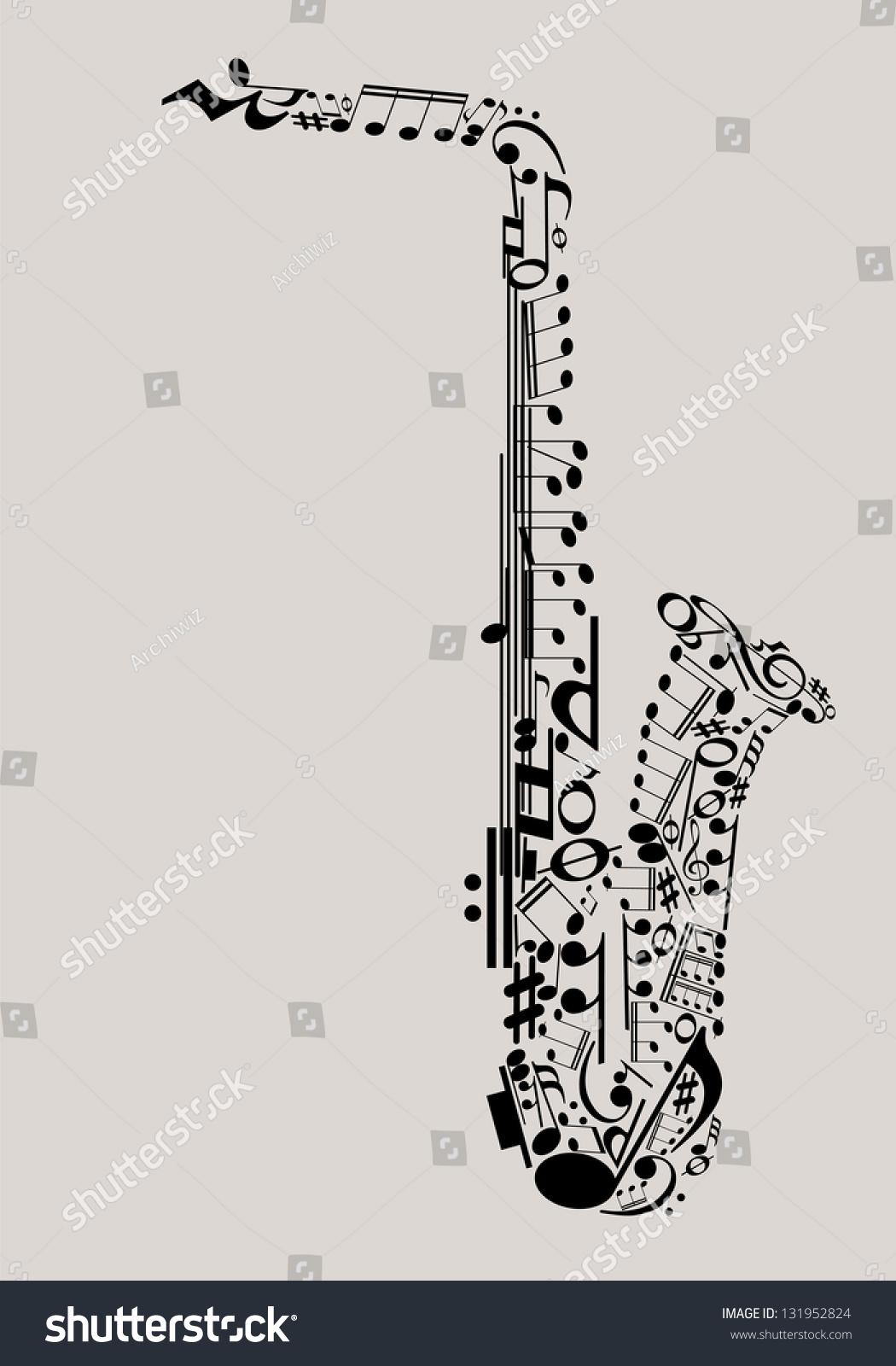 Jazz music saxophone made musical symbols stock vector 131952824 jazz music saxophone made with musical symbols for poster design buycottarizona Gallery