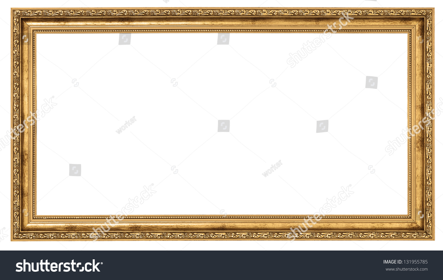 Marvelous Extremely Long Golden Frame Isolated On White Background