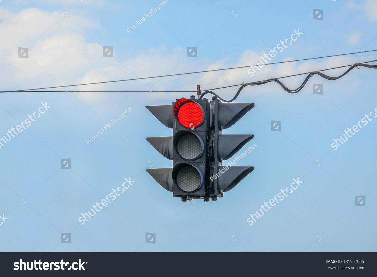 Traffic Light On Red Hanging Stock Photo Edit Now 131957006 Wiring A Fixture Blue Wire Wires In The Air