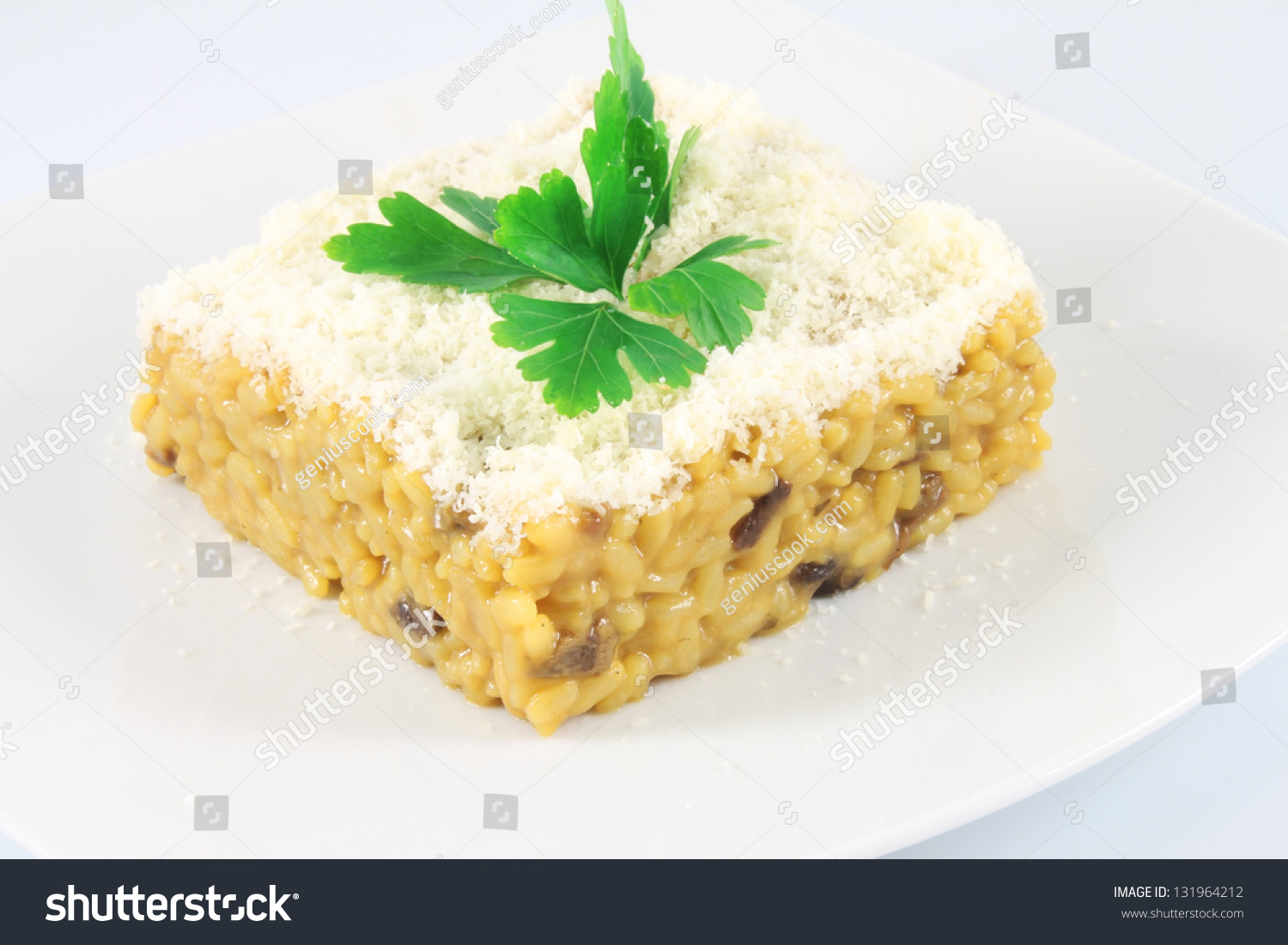 Saffron Risotto With Mushrooms, Cheese And Parsley Stock ...