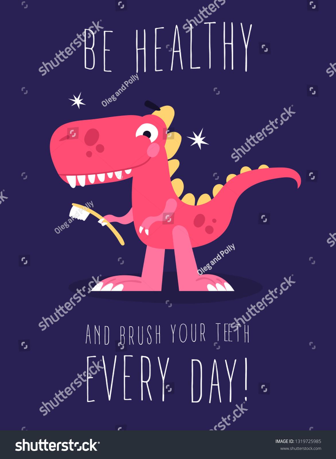 Cute Dinosaur Tooth Brush Childrens Book Stock Vector