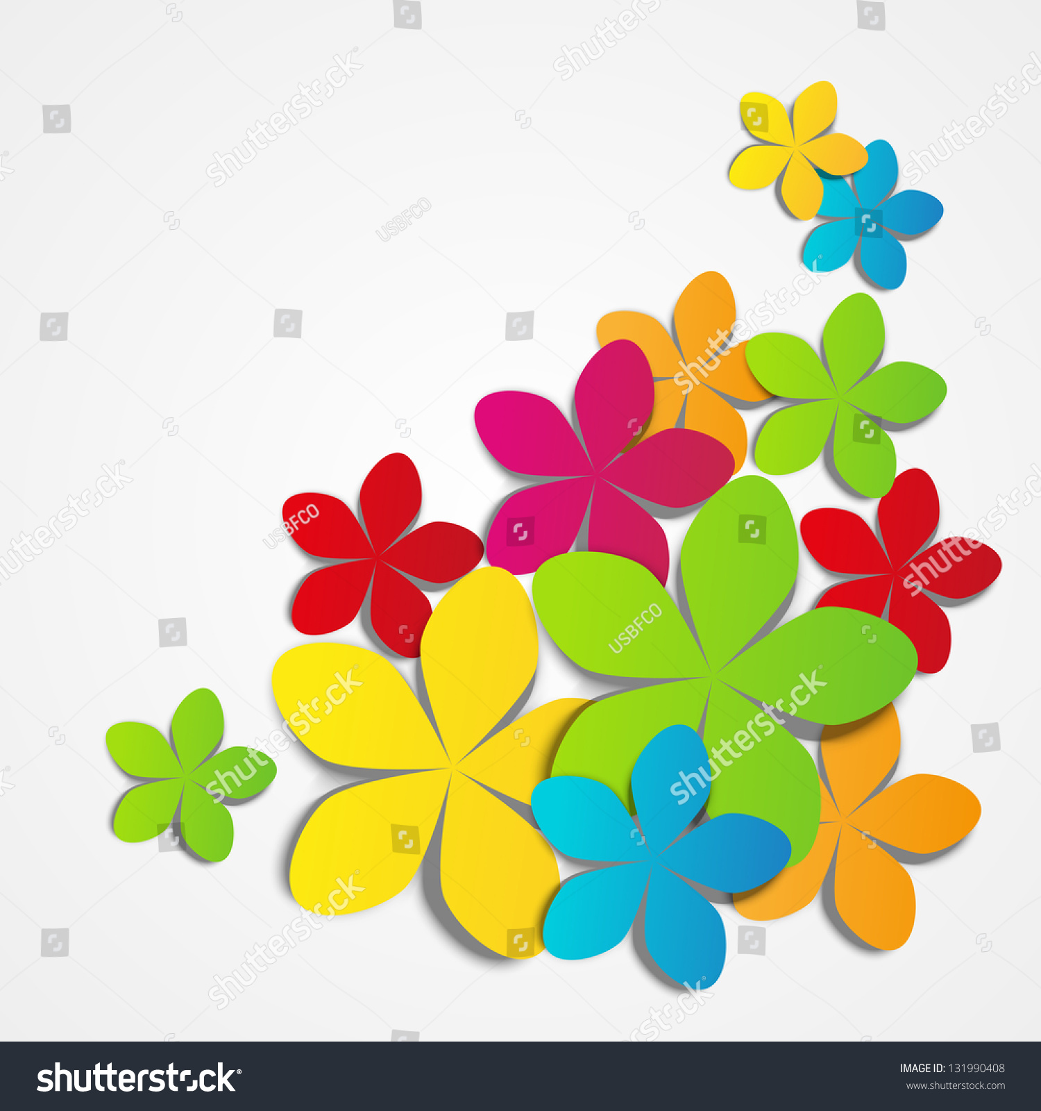 Vector Illustration Color Paper Flowers Stock Vector 131990408