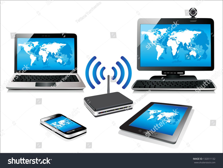 home wifi network internet via router stock illustration