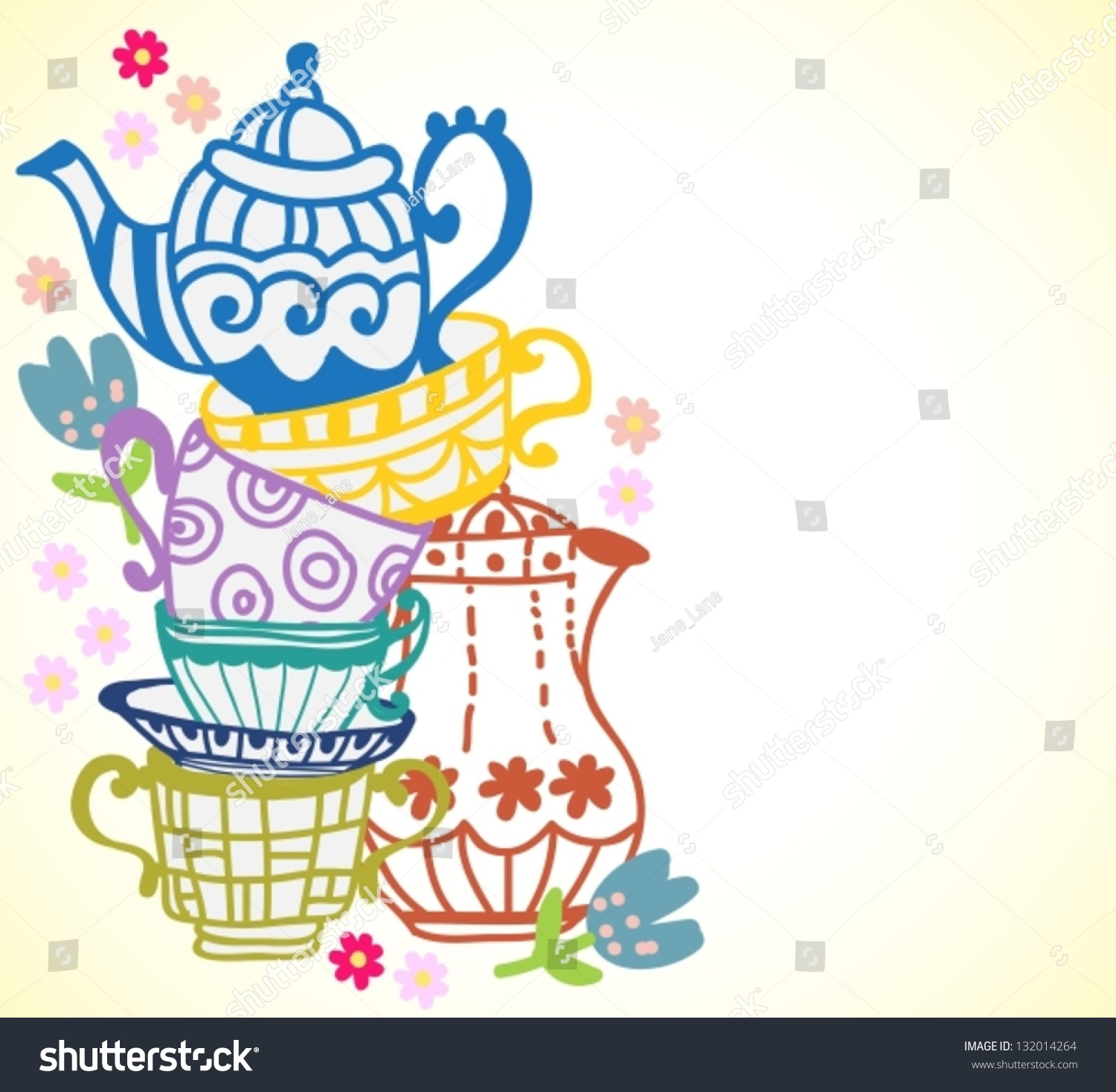 Kitchen Tea Party Invitation Ideas Tea Cup Background Teapot Illustration Design Stock Vector