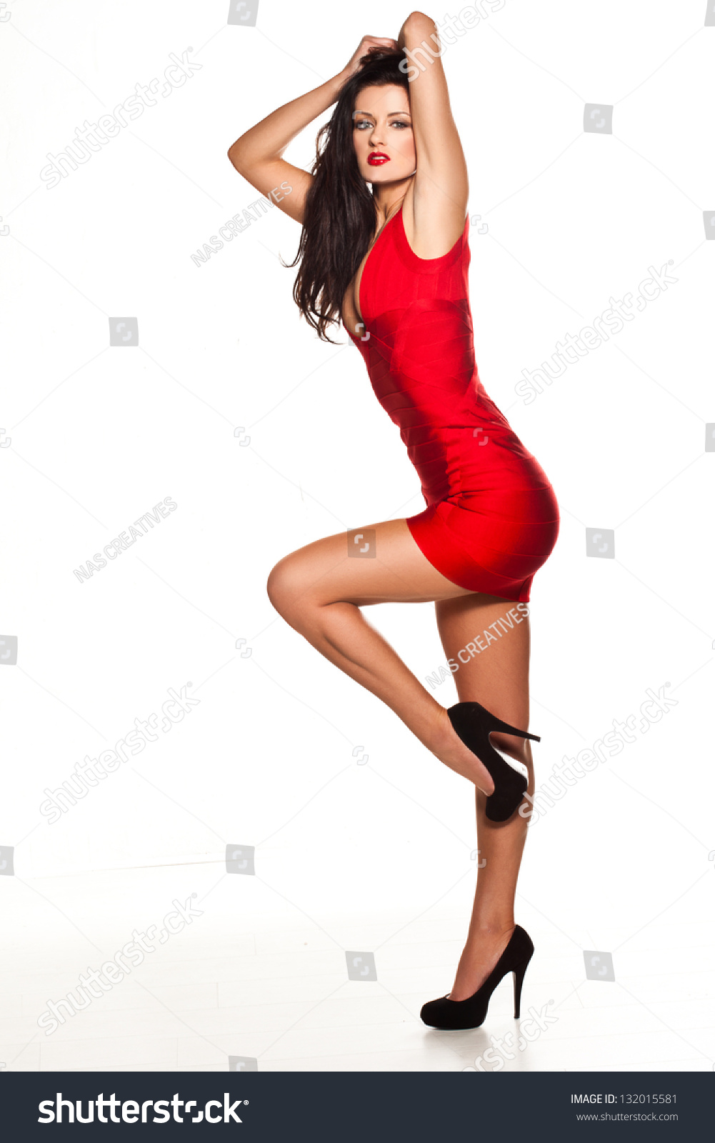 Beautiful Sexy Woman Wearing Red Dress Stock Photo 132015581 ...