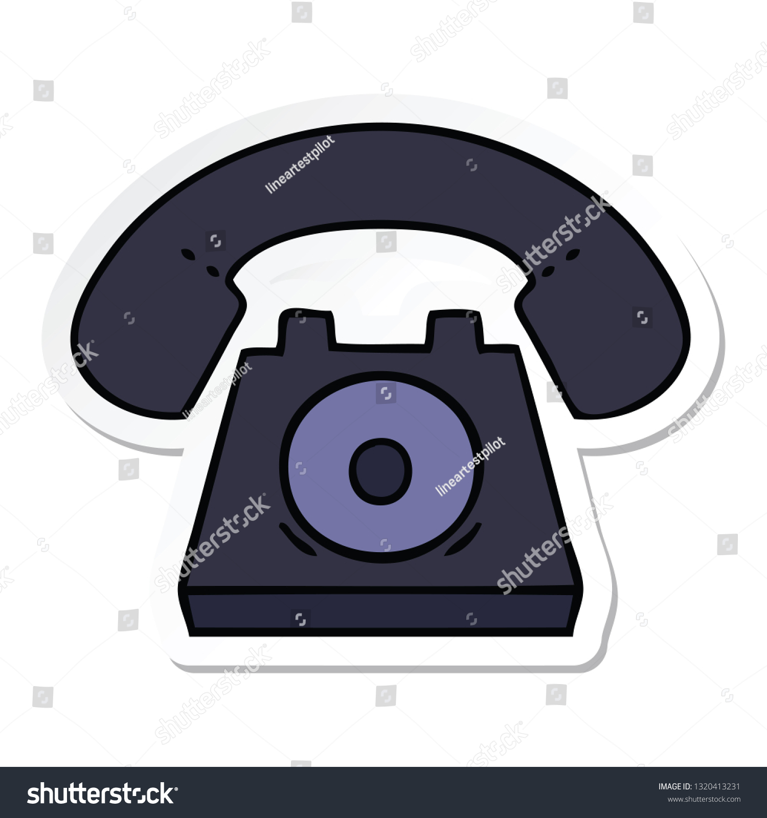 sticker of a cute cartoon old telephone