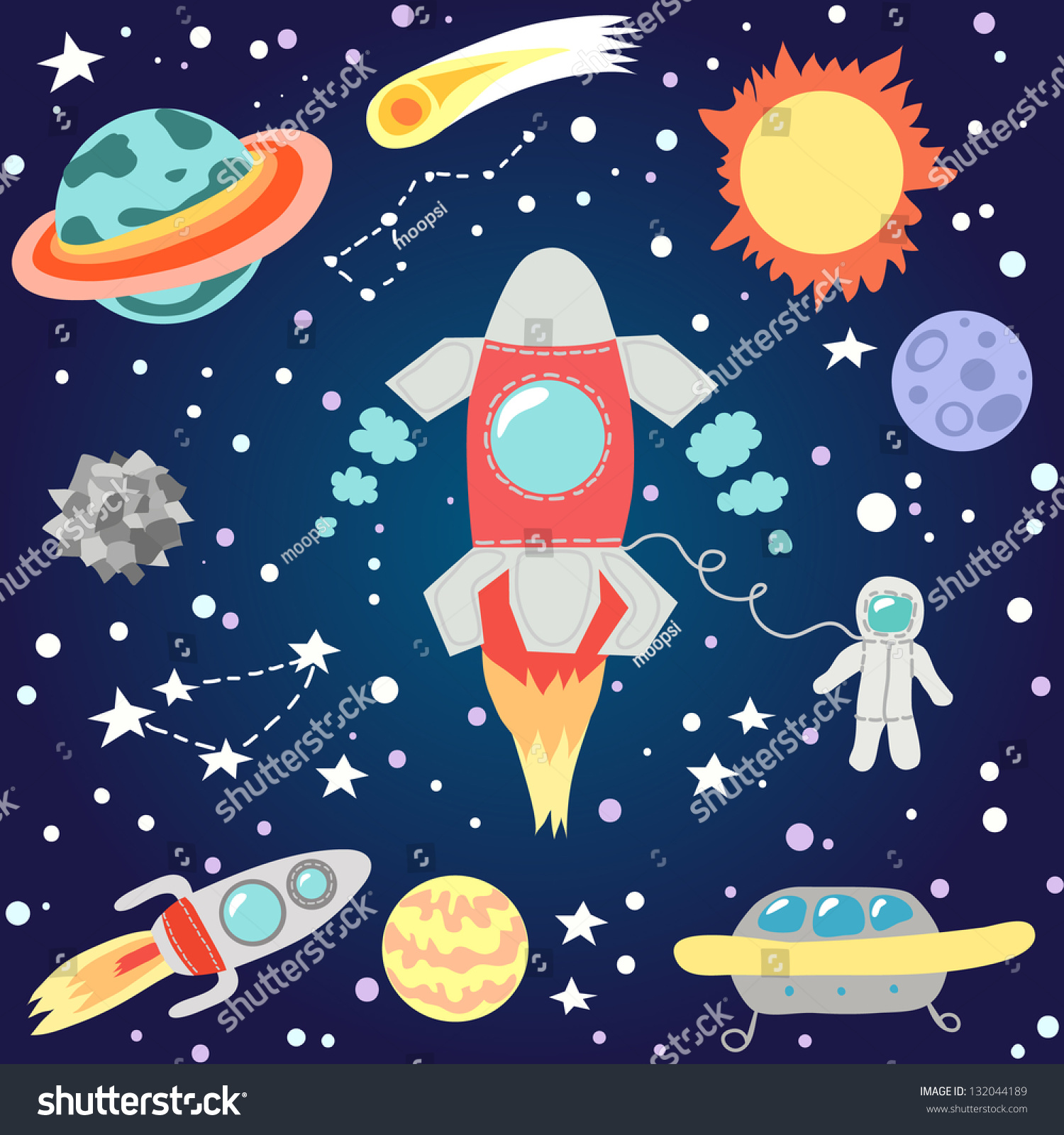 Kids Room Decoration Space Theme Vector Illustration: Seamless Outer Space Pattern Childrens Cosmos Stock Vector