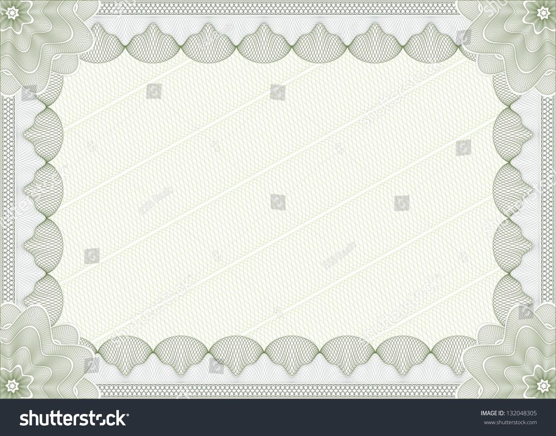 Light Green Blank Certificate Template Vector 132048305 – Blank Certificate Template