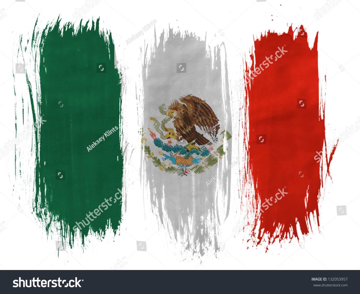 mexico mexican flag painted 3 vertical stock photo 132053957