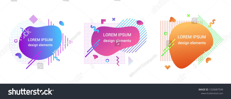 ef505030351da 3 Modern liquid abstract element shape gradient memphis style design fluid  vector colorful illustration banner set