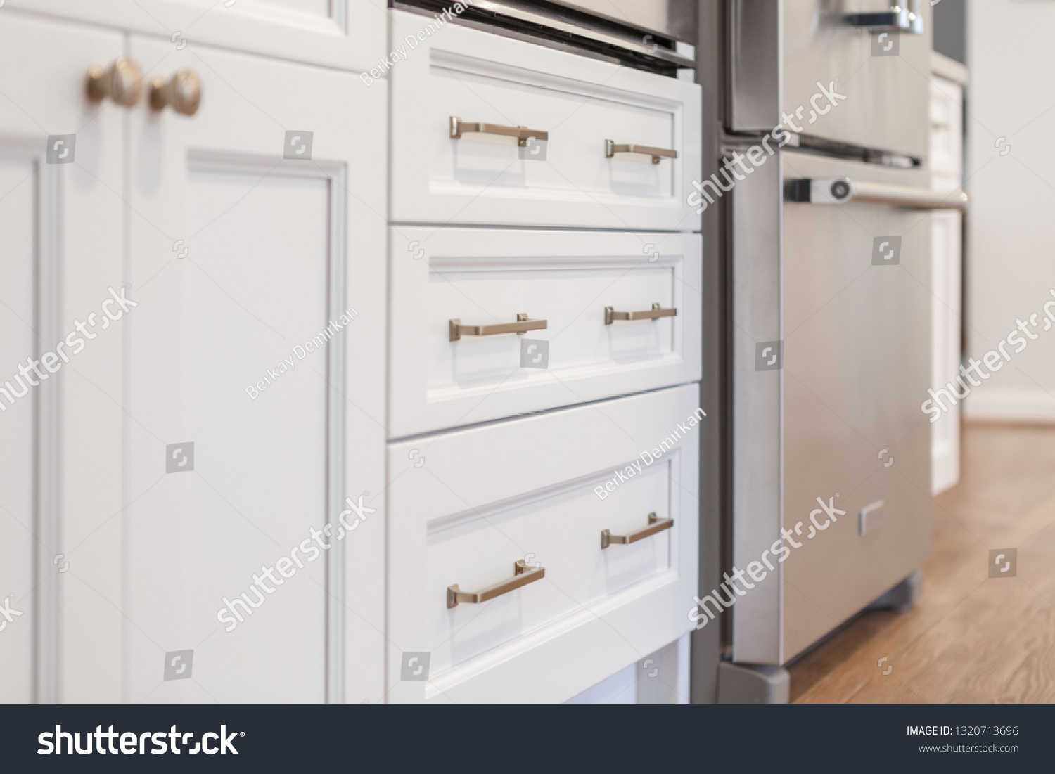 White Kitchen Built Shaker Style Cabinets Stock Photo Edit Now 1320713696