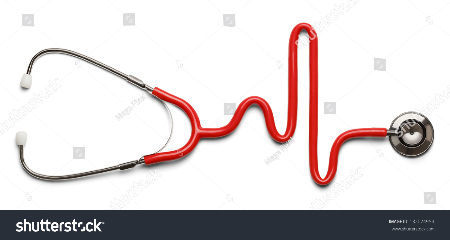 Stethoscope Shape Heart Beat On Ekg Stock Photo Edit Now 132074954 Remote Concept Diagram In The Of A