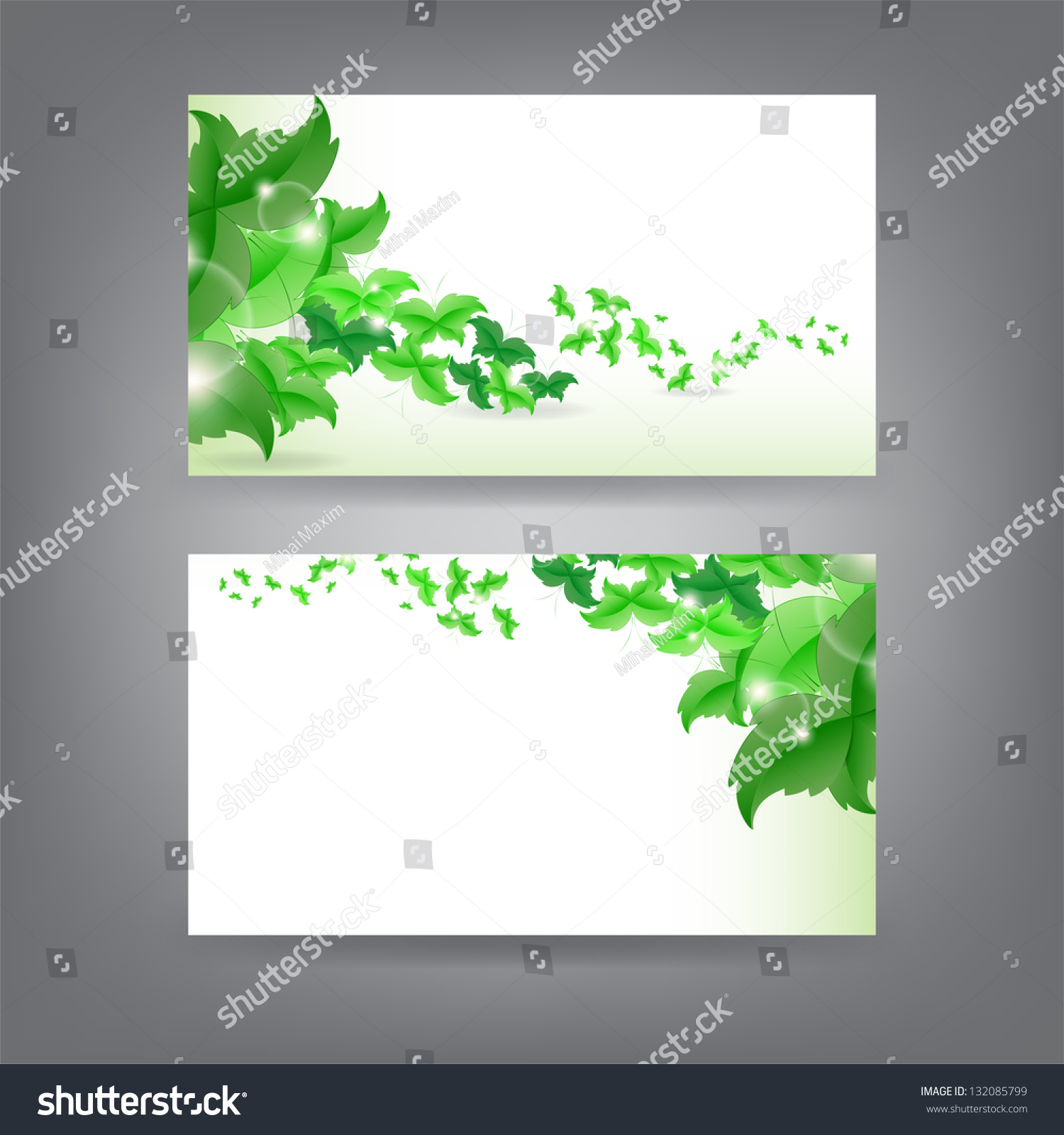 Environment Theme Business Card Template Green Stock Vector ...