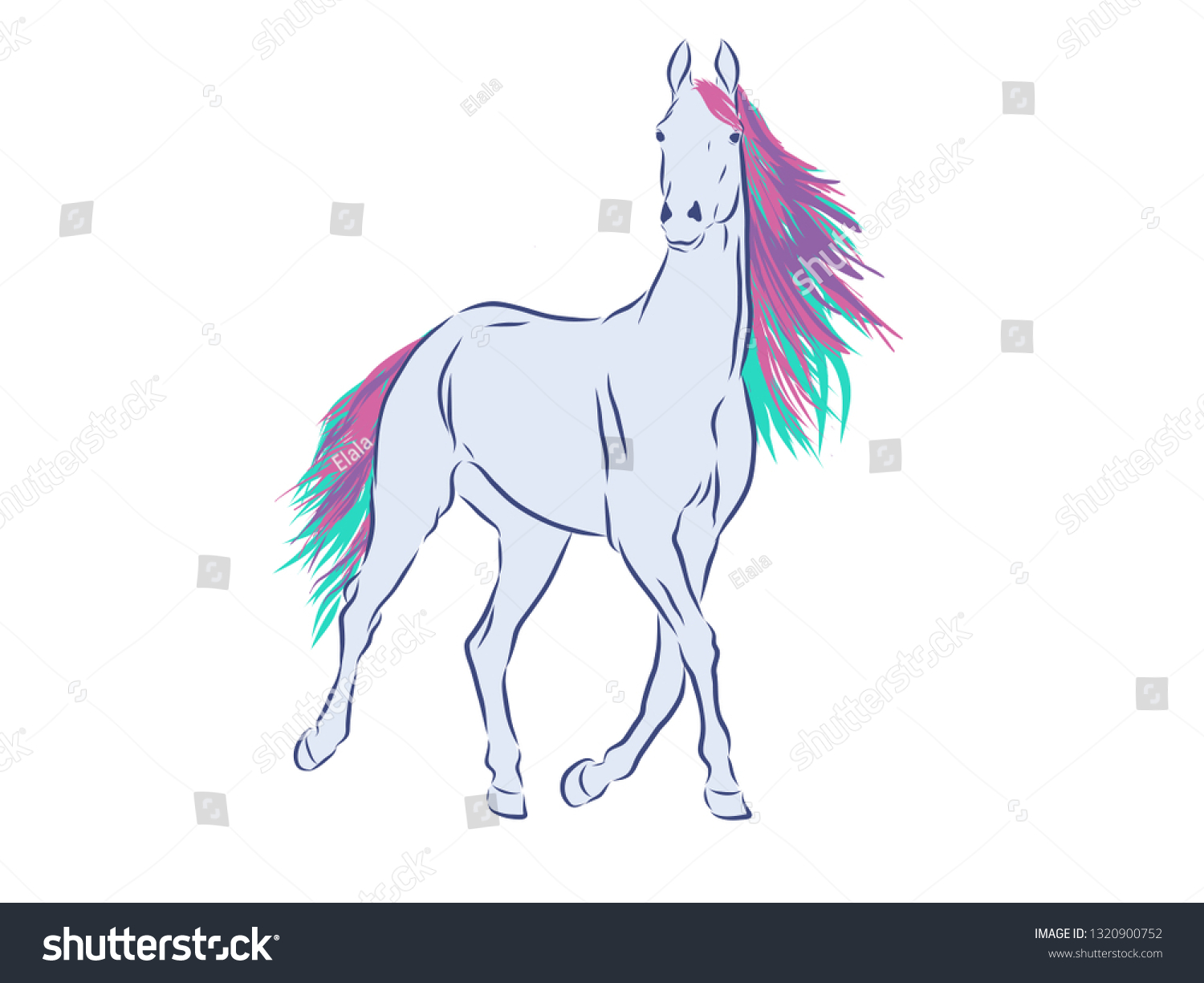 Magic Horse Vector Illustration Stock Vector Royalty Free 1320900752