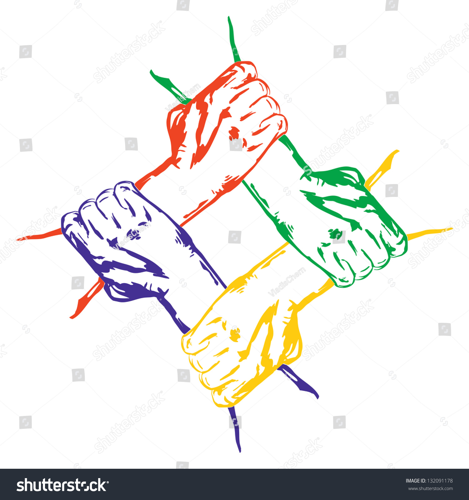 Vector Drawing Lines Unity : Hands holding each other unity cartoon stock vector