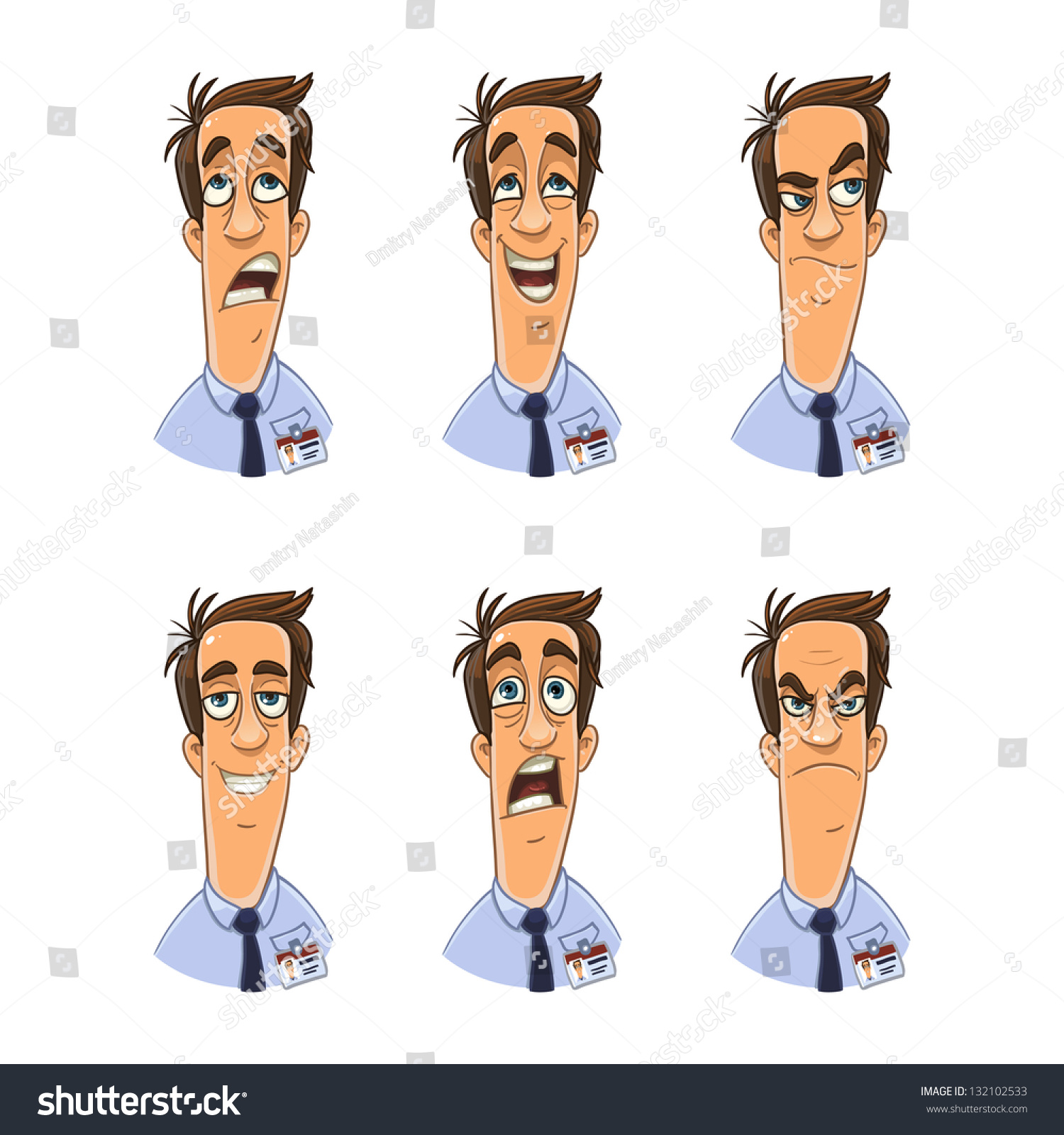 office clerk badge facial expression set stock vector  office clerk badge facial expression set