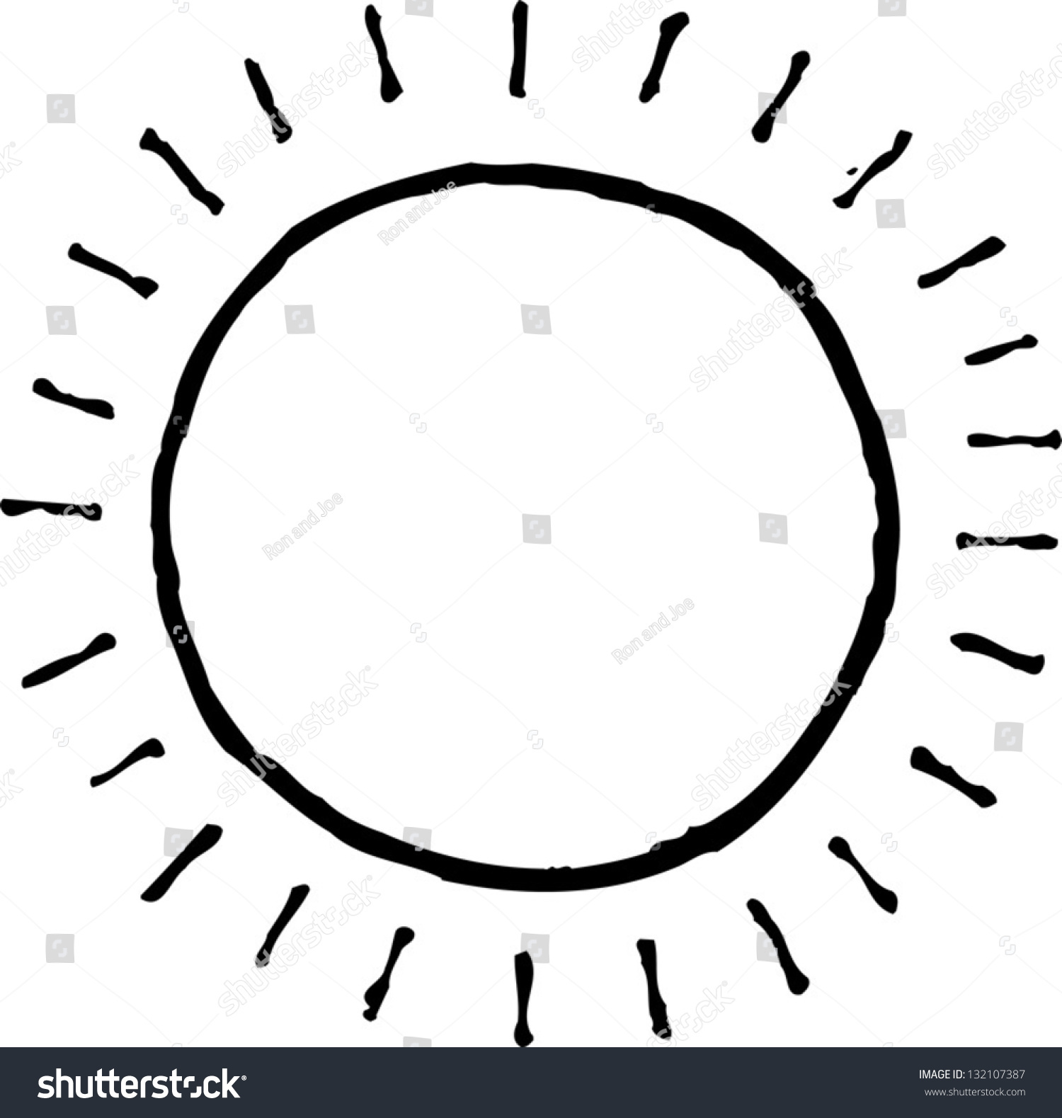 Black And White Vector Illustration Of The Sun - 132107387 ...