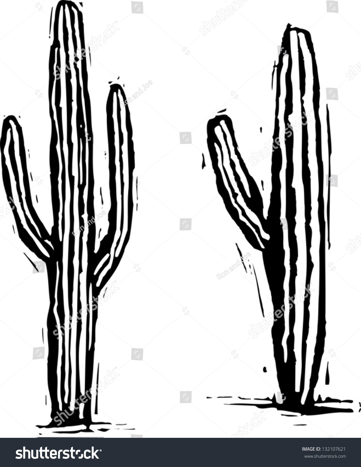 Black And White Vector Illustration Of Saguaro Cactus ...