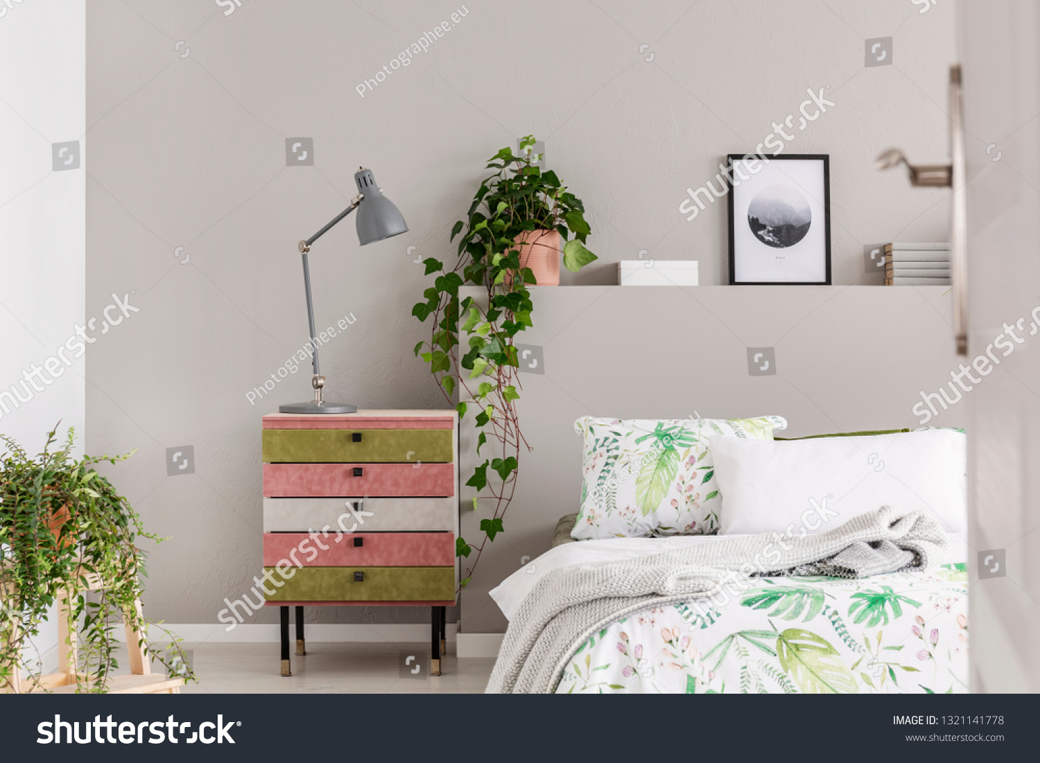 Suede Covered Pink Olive Green Nightstand Stock Photo Edit Now 1321141778