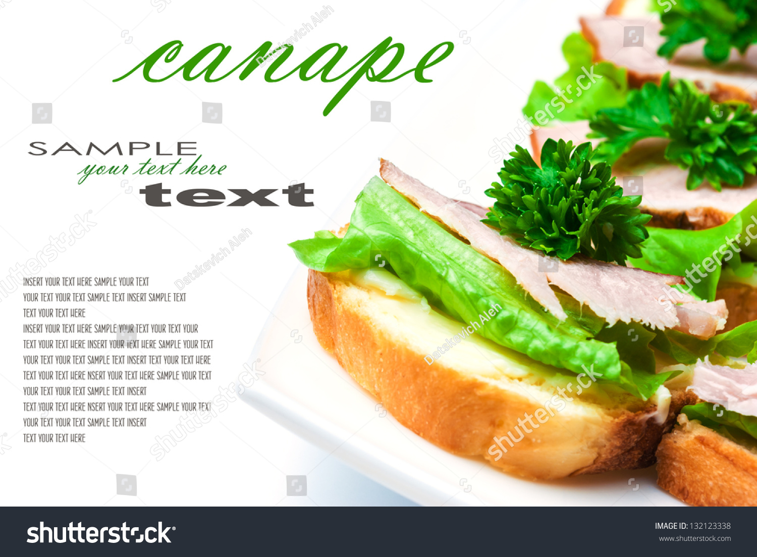 Closeup of delicious ham and salad canapes sandwiches with for Canape wraps