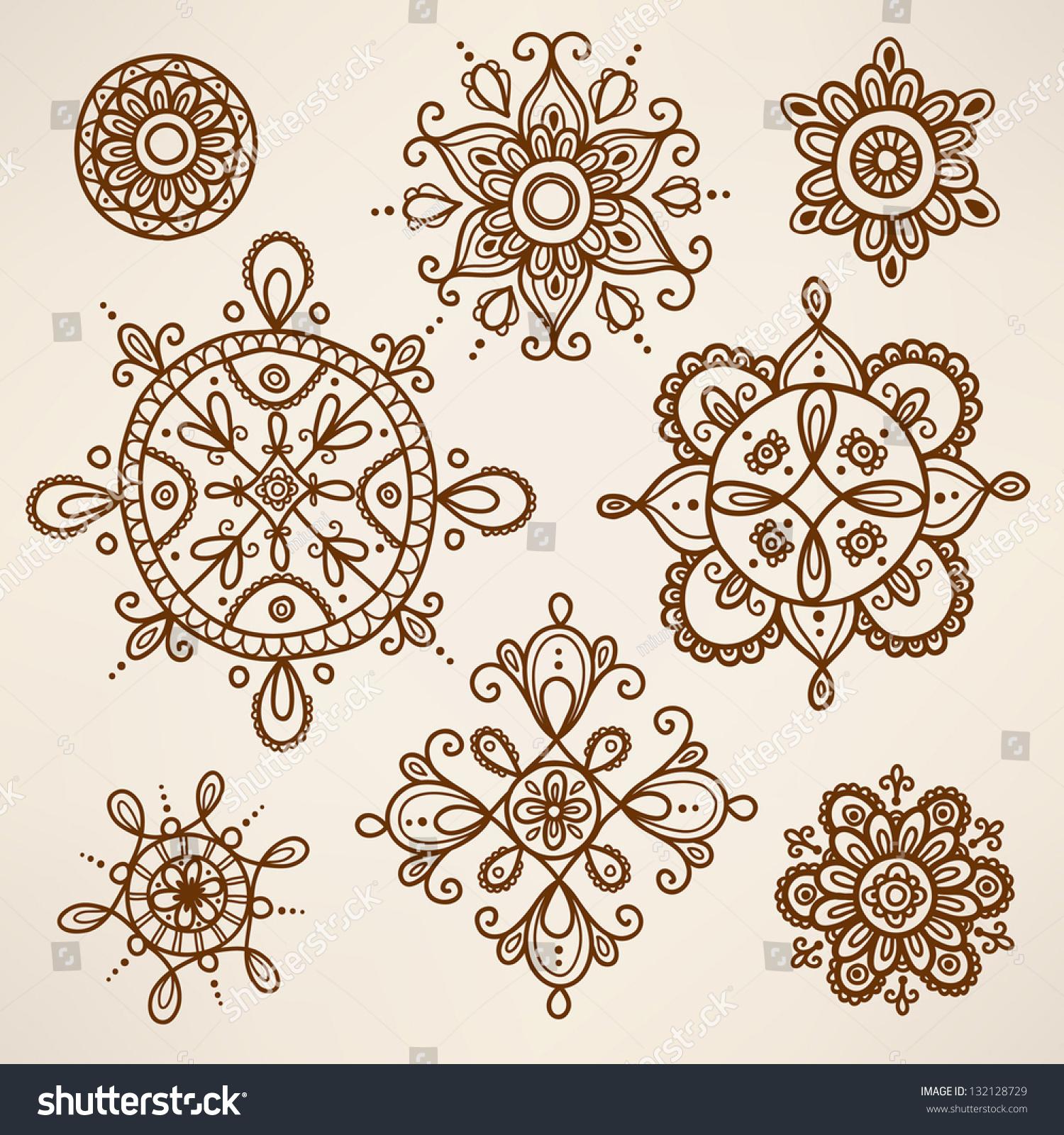 Henna Tattoo Vector: Henna Tattoo Elements Stock Vector 132128729
