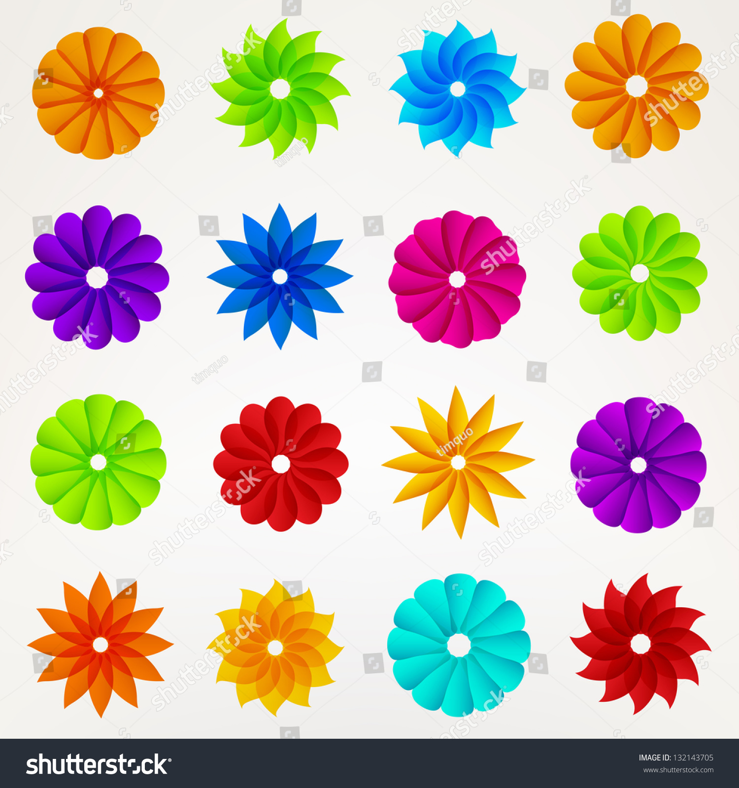 Set Of Black Flower Design Elements Vector Illustration: Flower Silhouette Set Design Elements Eps10 Stock Vector