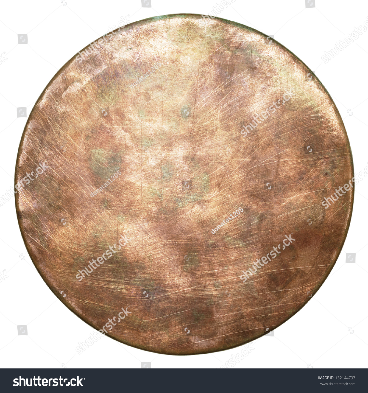 Round copper plate texture old metal background stock photo