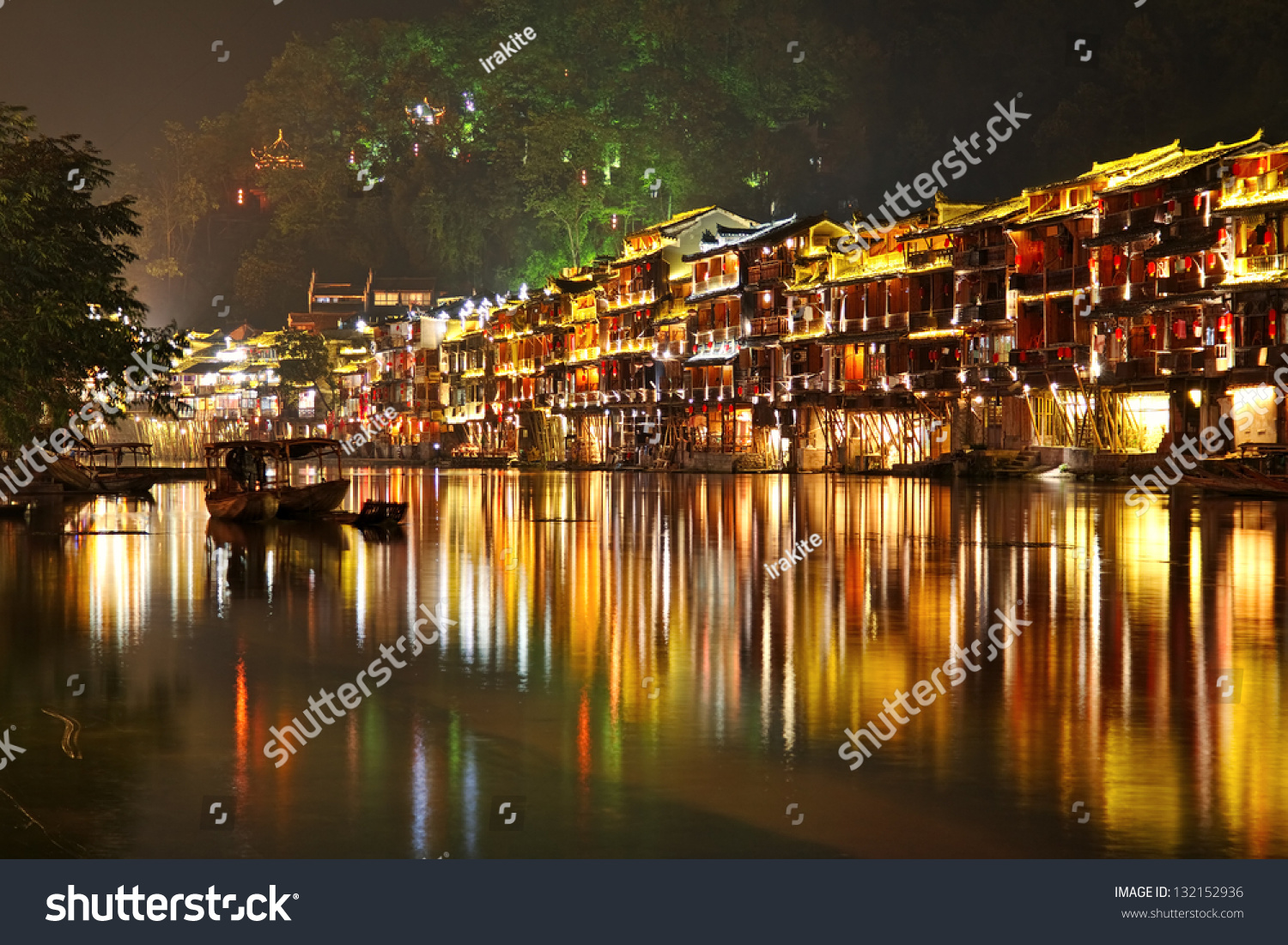 Fenghuang (Phoenix) China  City new picture : Fenghuang Phoenix Ancient Town At Night, Hunan Province, China Stock ...