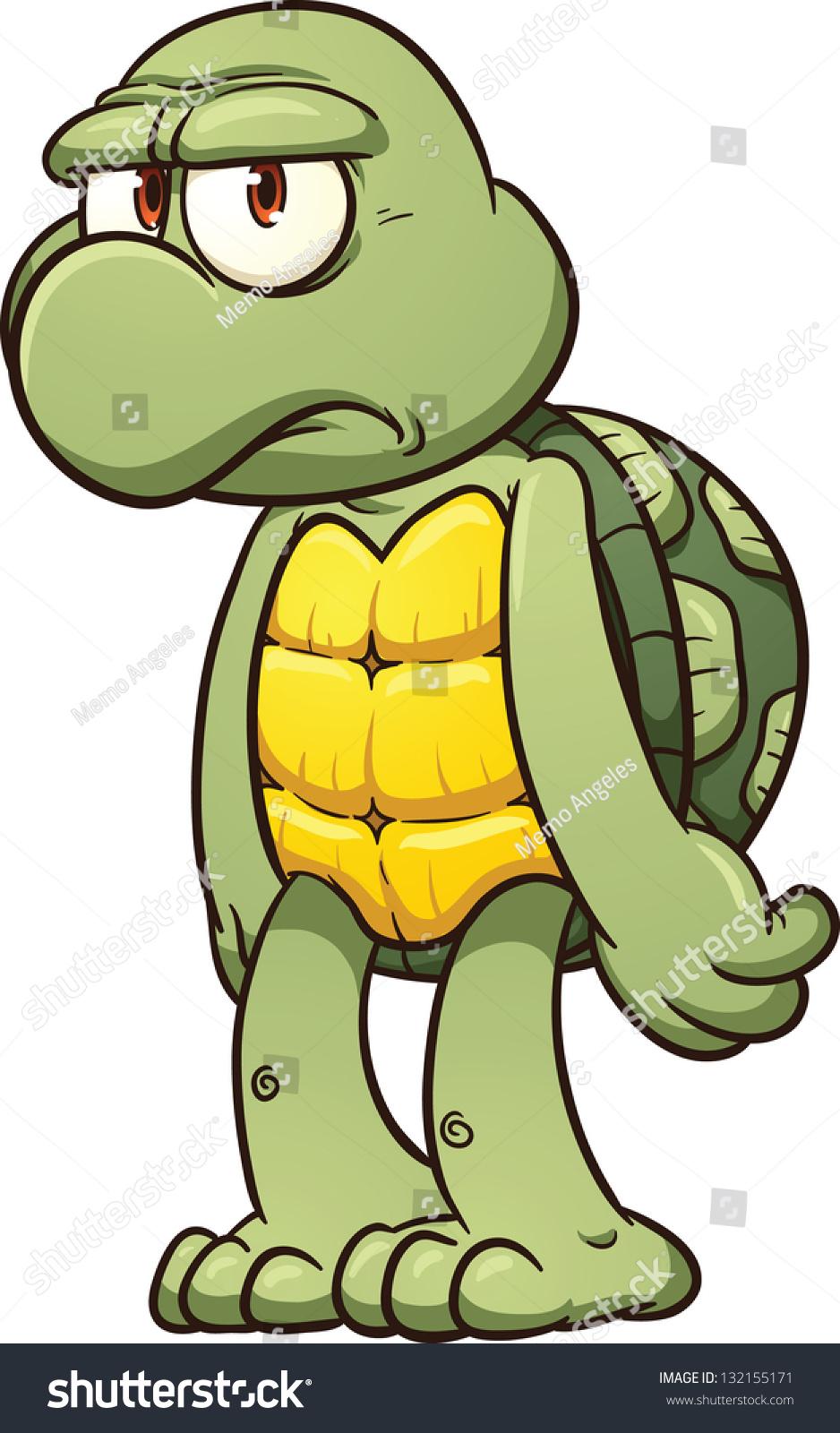Grumpy Cartoon Turtle Vector Clip Art Stock Vector Royalty Free