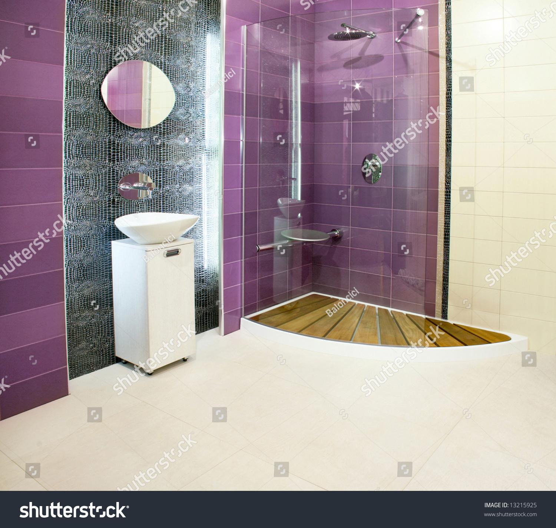 Big Bathroom Purple Ceramics Glass Shower Stock