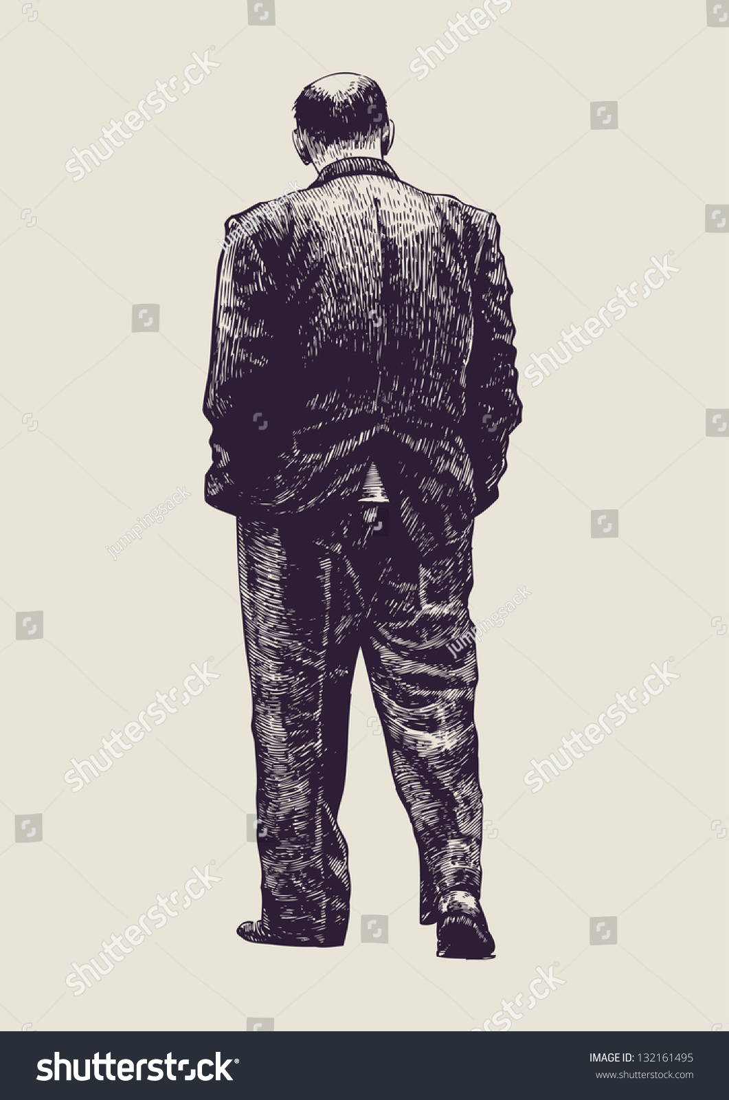 Bald Headed Elderly Man Back View Stock Vector 132161495 ...