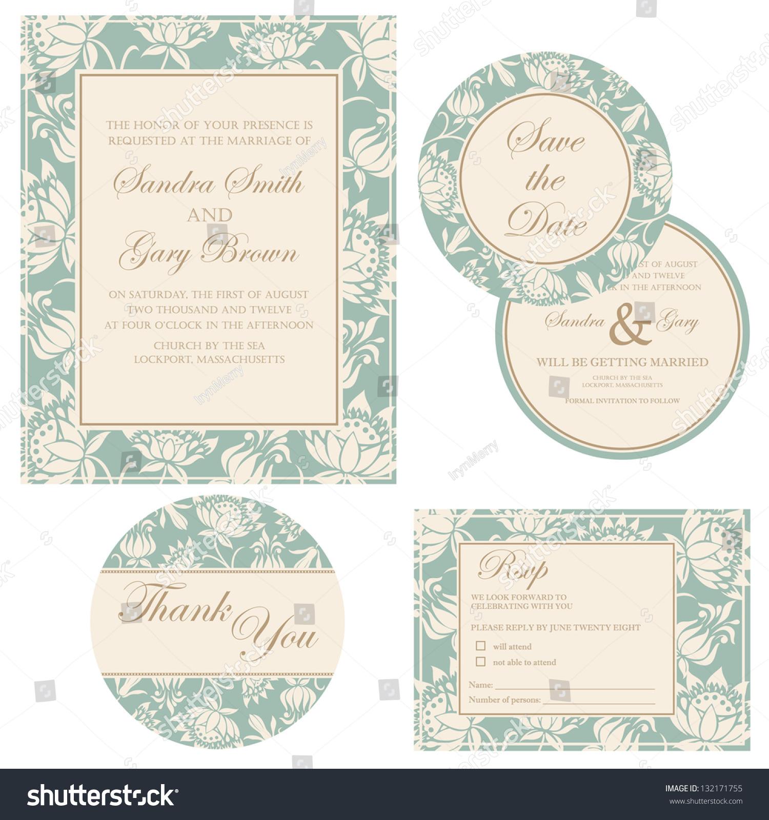 Wedding Invitation Set Thank You Card Stock Vector