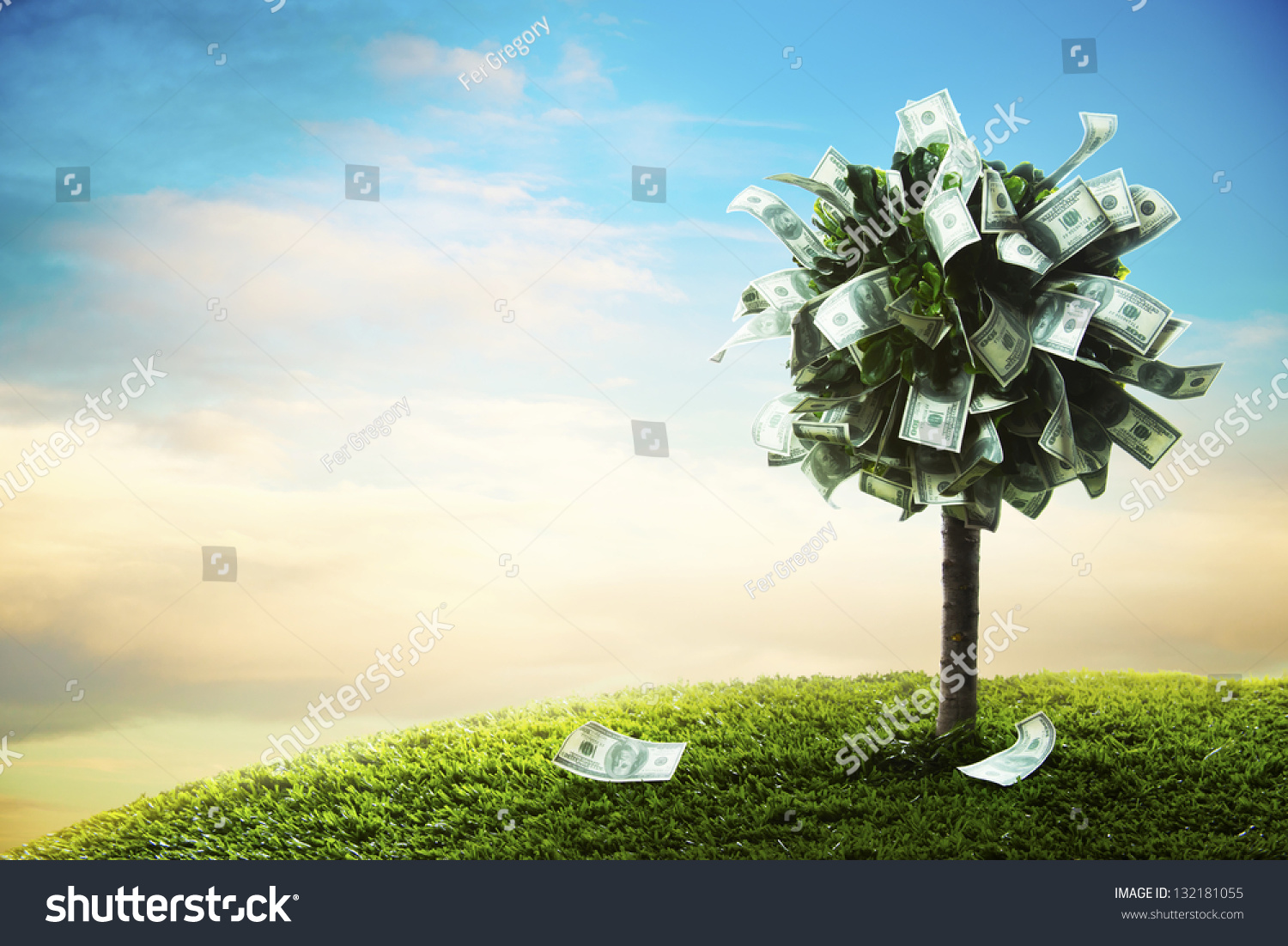 photo of tree made of dollars #132181055