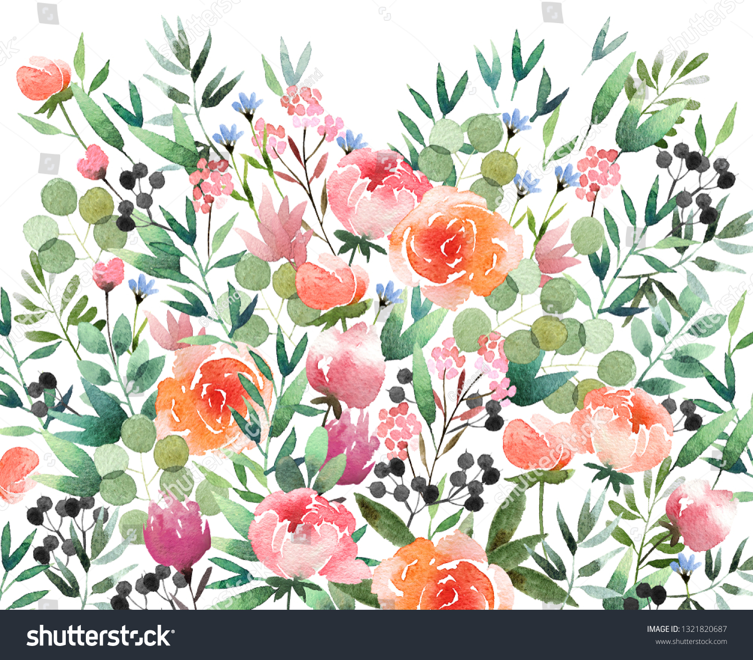 Beautiful Watercolor Flower Background Isolated On Stock
