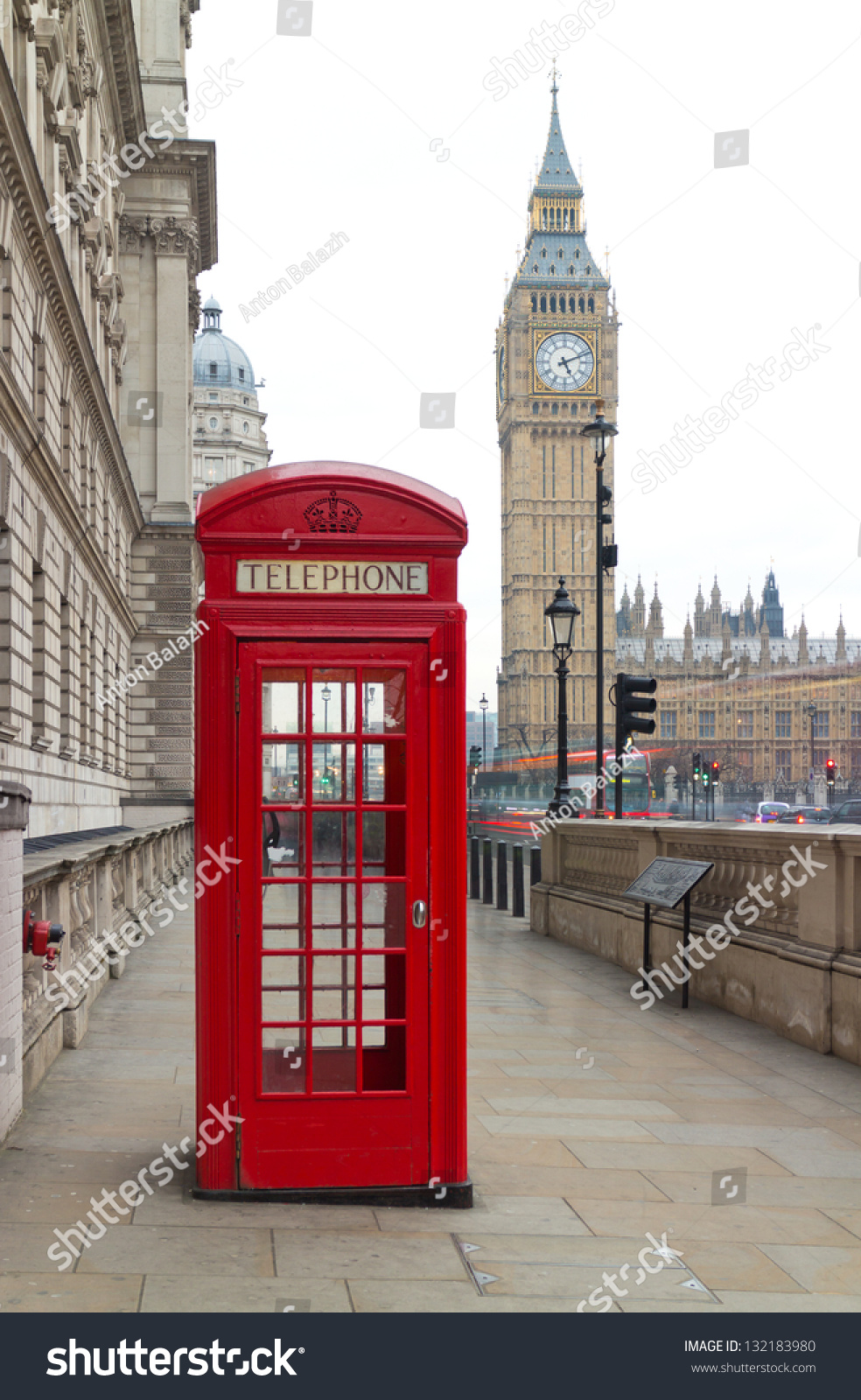 traditional red telephone box in london public phone
