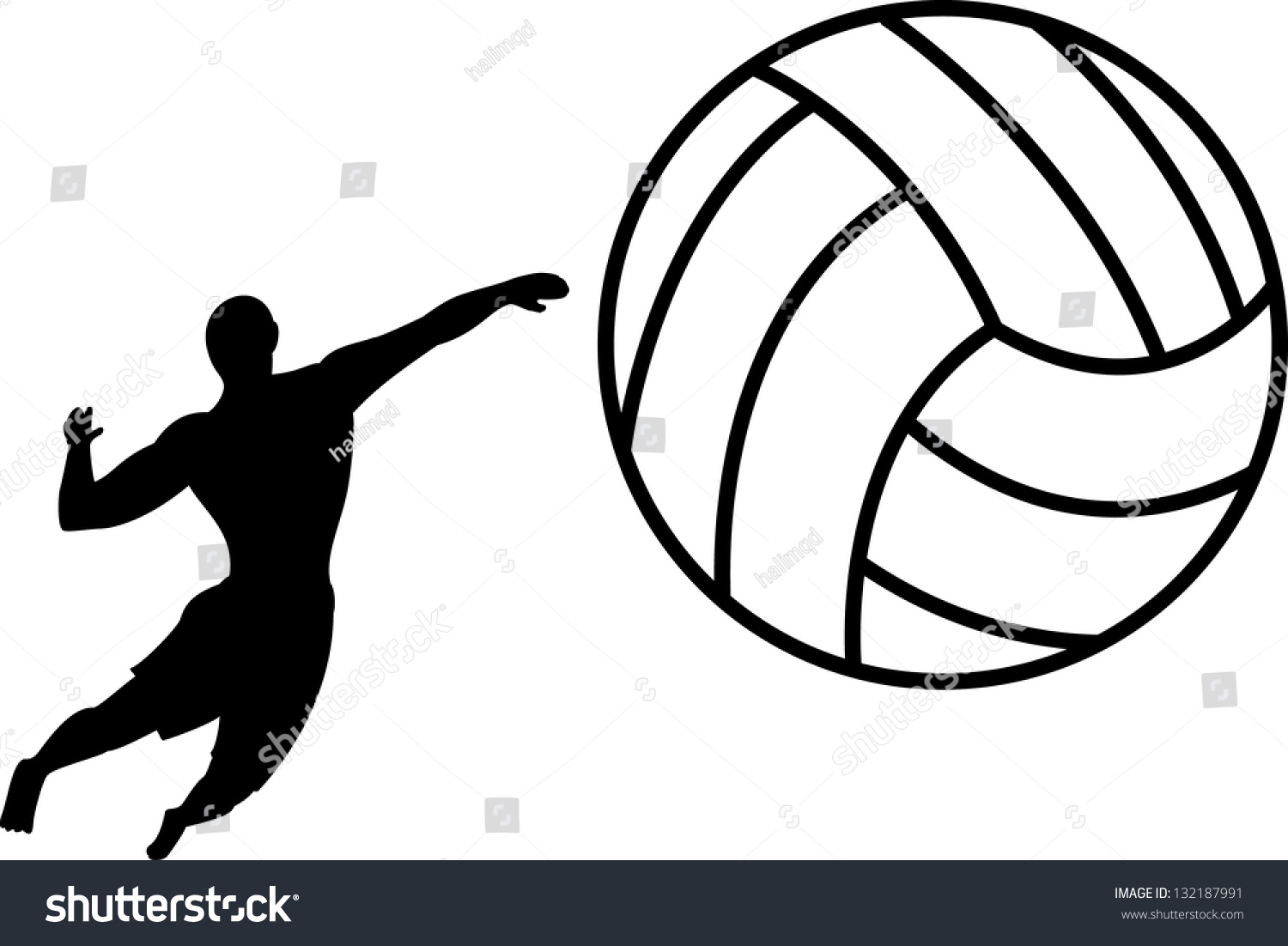 Abstract Triangle Volleyball Player Silhouette Stock: Silhouette Of Beach Volley Stock Vector Illustration