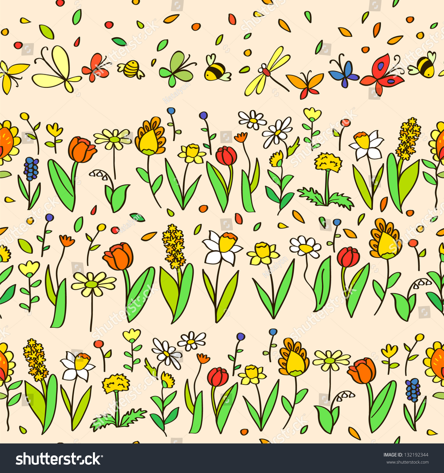 Fresh Spring Cartoon Flowers Seamless Pattern Stock Vector Royalty