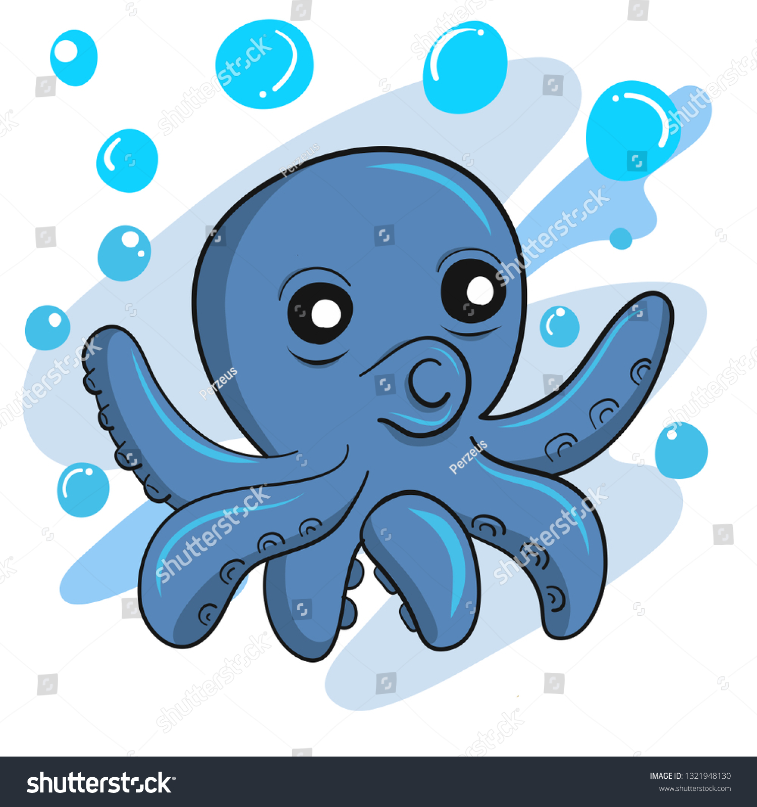 Blue octopus with glasses Royalty Free Vector Image