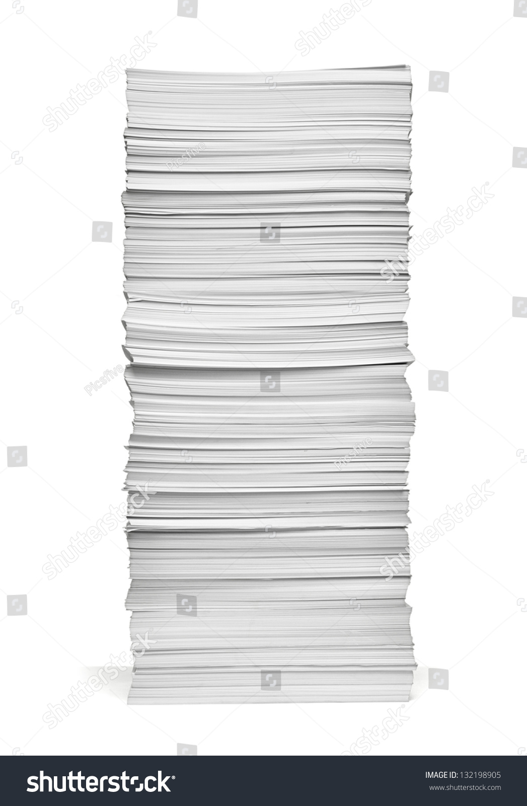 close stack papers on white background stock photo (edit now