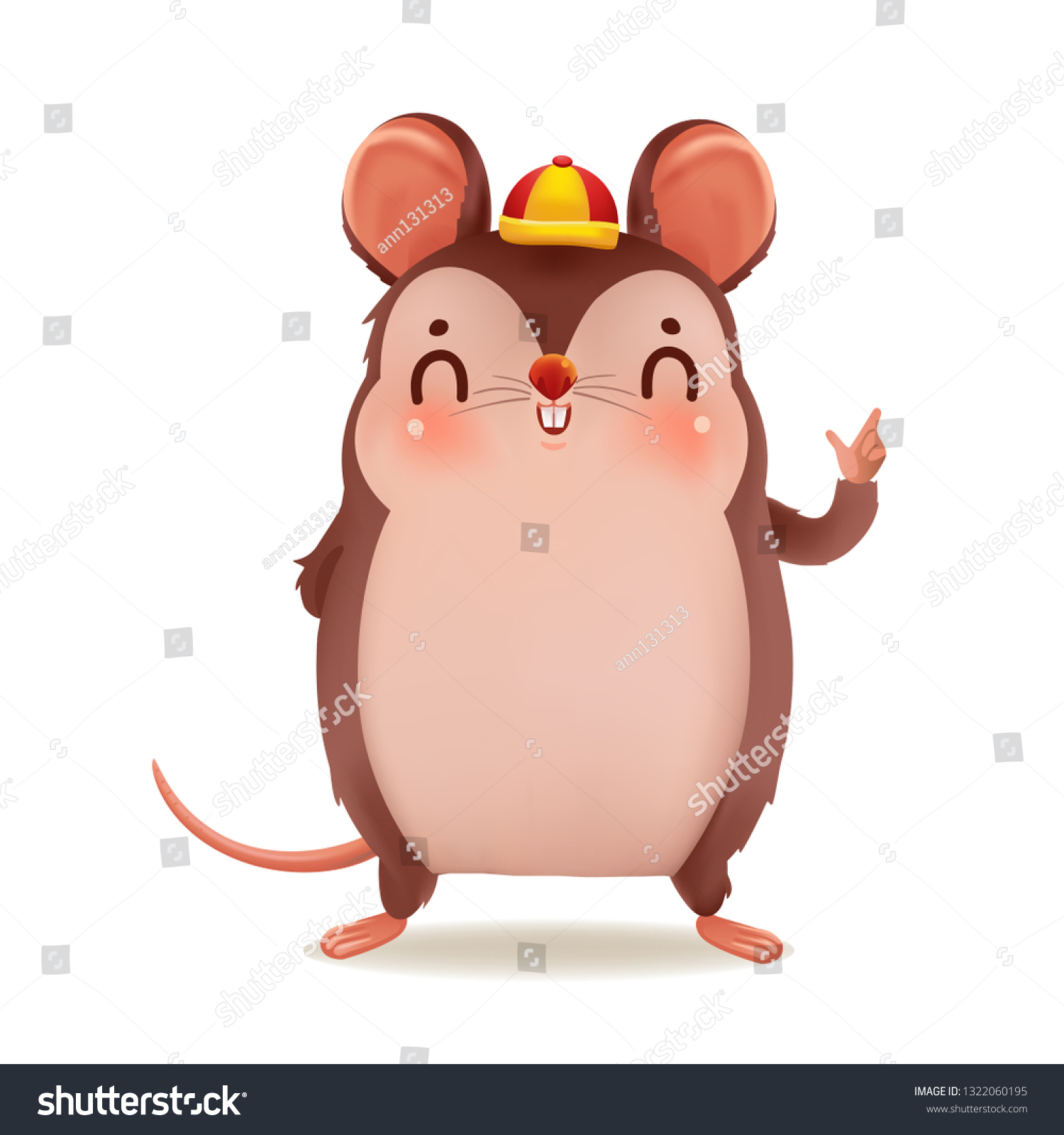 Cartoon Rat Personality Front View Zodiac Stock Vector